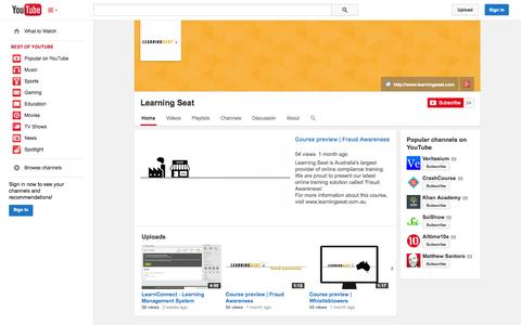 Screenshot of YouTube Page youtube.com - Learning Seat  - YouTube - captured Oct. 22, 2014