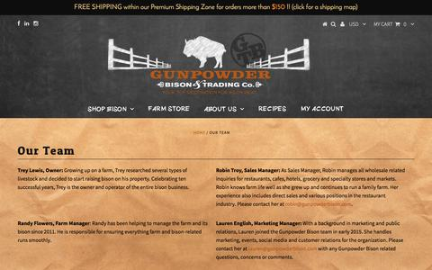 Screenshot of Team Page gunpowderbison.com - Our Team – Gunpowder Bison & Trading Co. - captured Nov. 16, 2016