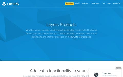 Screenshot of Products Page layerswp.com - Extensions | Layers - captured May 19, 2016