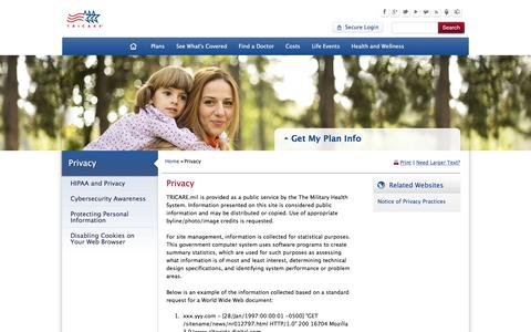 Screenshot of Privacy Page tricare.mil - Privacy | TRICARE - captured Dec. 4, 2016