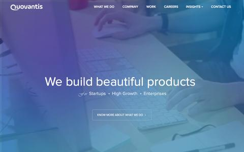 Screenshot of Home Page quovantis.com - Quovantis Technologies - Product Design & Engineering | Technology Consulting - captured Feb. 2, 2016