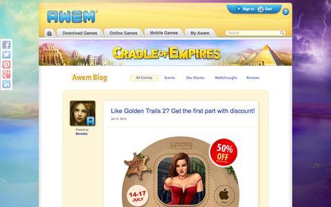 Screenshot of Blog awem.com - Blog | Awem Games - captured Sept. 25, 2014