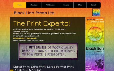 Screenshot of Home Page blacklionpress.co.uk - Digital and Litho and Large Format Printers in Maidstone, Medway, Kent - captured Sept. 13, 2015