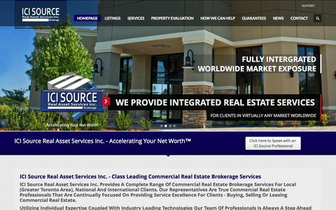 Screenshot of Home Page icisource.com - ICI Source Real Asset Services Inc., Brokerage -  Providing a Complete Range of Commercial Real Estate Brokerage Services -  GTA Toronto Mississauga - captured Oct. 3, 2014