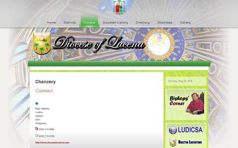 Screenshot of Contact Page dioceseoflucena.com - Contact Us - captured May 23, 2016