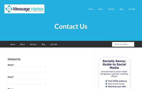 Screenshot of Contact Page message-harbor.com - Contact Us - Message Harbor - captured Oct. 27, 2014