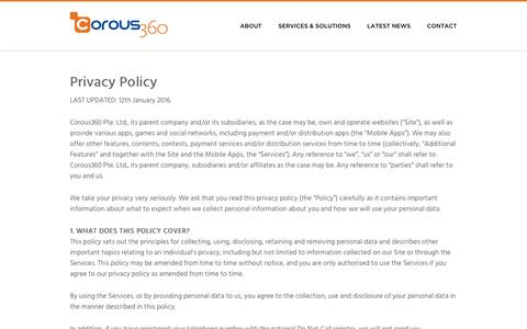Screenshot of Privacy Page corous360.com - Website Privacy Policy - captured Jan. 31, 2016