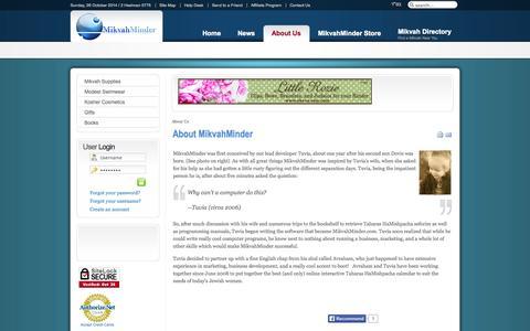Screenshot of About Page mikvahminder.com - About MikvahMinder | About MikvahMinder - More than a Mikvah Calendar - captured Oct. 27, 2014