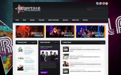 Screenshot of Press Page rawkzilla.com - Rawkzilla | Hottest News, Reviews and Interviews - captured Oct. 26, 2014