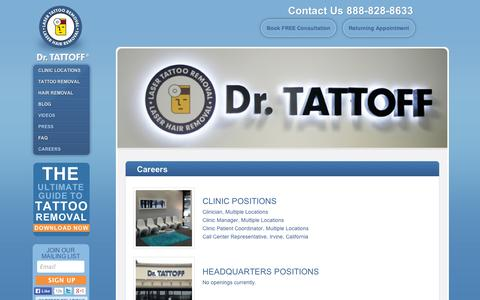 Screenshot of Jobs Page drtattoff.com - Careers - Tattoo Removal at Dr. Tattoff. SoCal, Houston, Phoenix, Dallas & More - captured Sept. 12, 2014