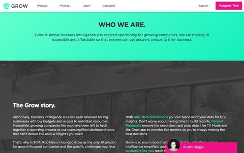 Screenshot of About Page grow.com - Our Story   Grow.com - captured Nov. 13, 2019