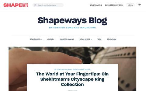Screenshot of Blog shapeways.com - Shapeways Magazine - 3D Printing News and Innovation - captured Nov. 28, 2019