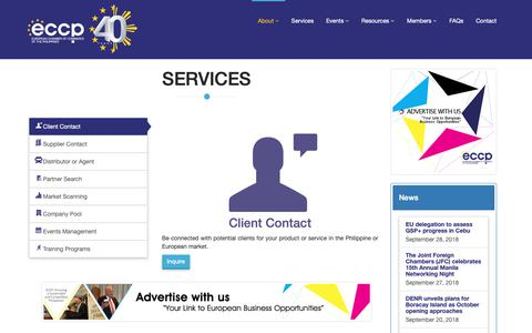 Screenshot of Services Page eccp.com - European Chamber of Commerce of the Philippines - Services - captured Sept. 29, 2018