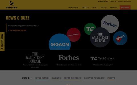 Screenshot of Press Page sisense.com - News, Buzz and Press for Sisense Business Analytics - captured Jan. 20, 2016