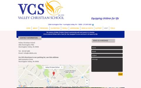 Screenshot of Contact Page Maps & Directions Page vcskids.com - Visit VCS | Valley Christian School PA - captured Dec. 3, 2016
