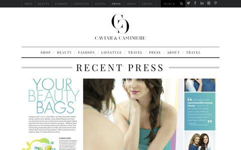 Screenshot of Press Page caviarandcashmere.com - Recent Press - captured Sept. 27, 2018