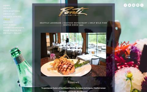 Screenshot of Press Page pontiseafoodgrill.com - Press — Ponti Seafood Grill, Seattle Washington - captured Sept. 30, 2014