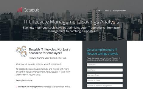 Screenshot of Landing Page catapultsystems.com - IT Lifecycle Management - captured Sept. 19, 2018