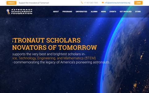 Screenshot of Home Page astronautscholarship.org - ASF   Astronaut Scholarship Foundation - captured Oct. 4, 2018