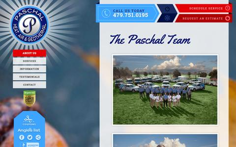 Screenshot of Team Page paschalcorp.com - Meet the Staff of Paschal Heat & Air in Northwest Arkansas - captured Oct. 1, 2014