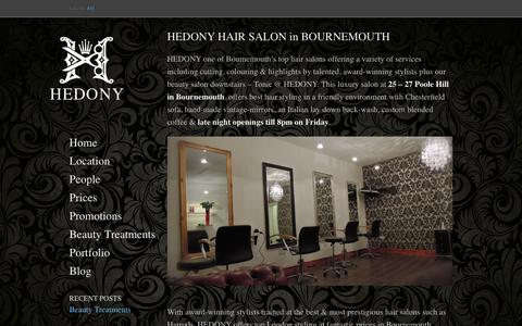Screenshot of Home Page hedonyhair.com - Best Hair Salon Bournemouth | HEDONY Hair Salon employs the UK's leading stylists & colouring technicians in a fantastic, elegant environment. - captured Oct. 2, 2014