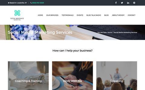 Screenshot of Services Page socialabundancemarketing.com - Social Media Marketing Services | Social Abundance Marketing - captured June 14, 2017