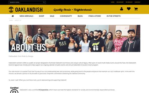 Screenshot of About Page oaklandish.com - Oaklandish About  Us - captured Aug. 16, 2015