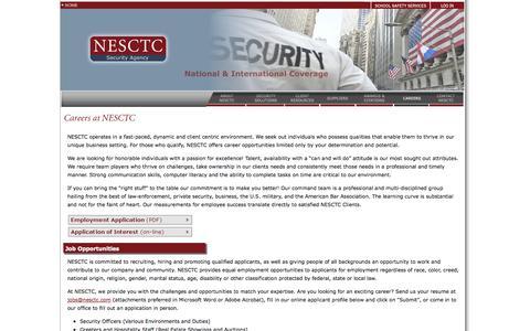 Screenshot of Jobs Page nesctc.com - Careers - captured Sept. 25, 2014