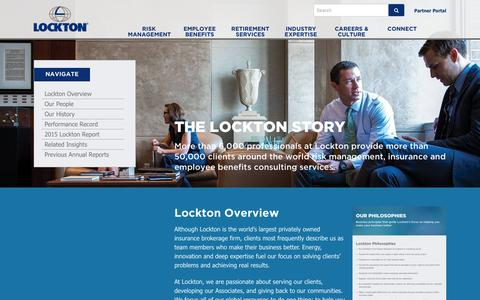 Screenshot of About Page lockton.com - The Lockton Story | Lockton Companies - captured Sept. 8, 2016