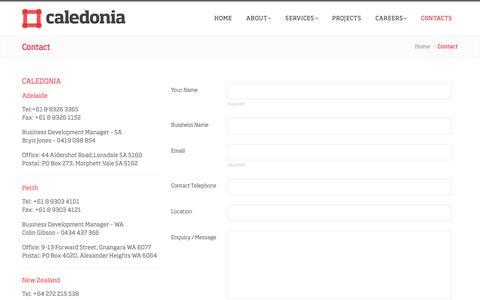 Screenshot of Contact Page caledoniascaffolding.com.au - Contact | Caledonia - captured May 13, 2017