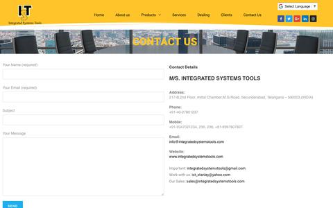 Screenshot of Contact Page integratedsystemstools.com - Contact Us - Integrated Systems Tools - captured July 25, 2018