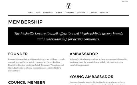 Screenshot of Signup Page nashvilleluxurycouncil.org - Membership | Nashville Luxury Council - captured June 28, 2016