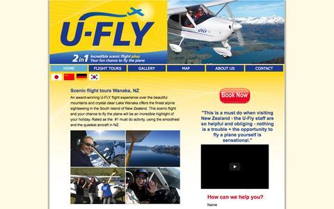 Screenshot of Home Page u-flywanaka.co.nz - Scenic flight tours around New Zealand's Southern Alps - captured Oct. 3, 2014
