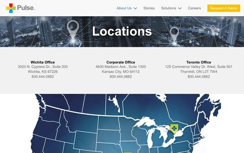 Screenshot of Locations Page pulseinc.com - Corporate Office Locations - Pulse Systems, Inc. - captured July 14, 2018