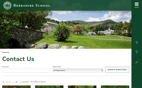Screenshot of Contact Page berkshireschool.org - Contact Us - - captured Nov. 6, 2018