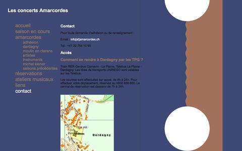 Screenshot of Contact Page amarcordes.ch - Les concerts Amarcordes - captured June 2, 2016