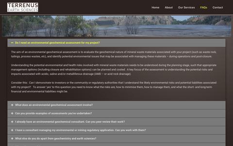 Screenshot of FAQ Page terrenus.com.au - FAQs - Terrenus Earth Sciences - captured Oct. 18, 2018