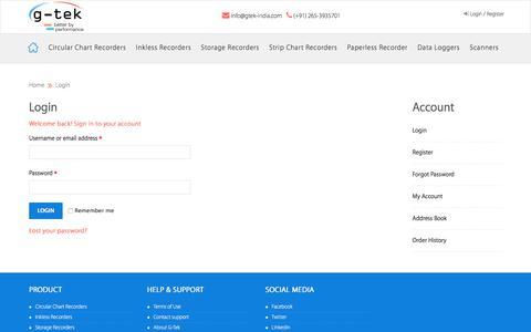 Screenshot of Login Page gtek-india.com - G-Tek India - captured July 7, 2017