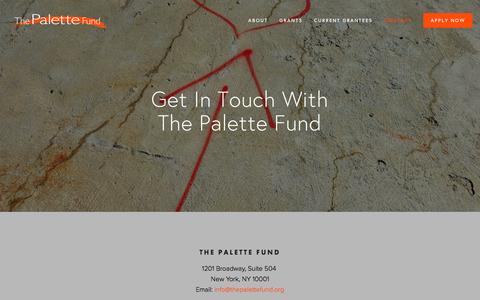 Screenshot of Contact Page thepalettefund.org - Contact — The Palette Fund - captured March 4, 2016