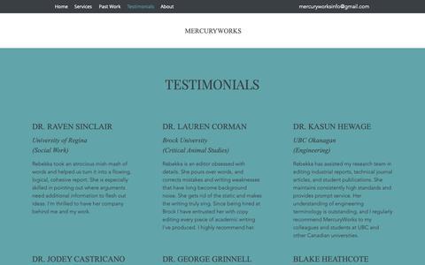 Screenshot of Testimonials Page mercuryworks.ca - Testimonials | MercuryWorks - captured Oct. 17, 2018