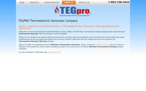 Screenshot of About Page Terms Page tegpro.com - TEGPRO About Us Page - TEGPRO Thermoelectric Generators and Thermoelectric Generator Modules - captured June 2, 2016