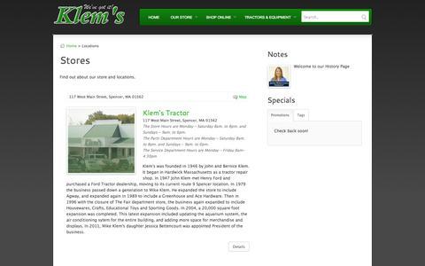 Screenshot of Locations Page klemsonline.com - Klem's Online - captured Oct. 6, 2014