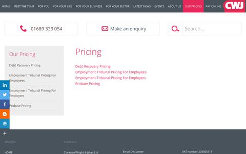 Screenshot of Pricing Page cwj.co.uk - Pricing- Clarkson Wright & Jakes Solicitors (Orpington, Kent) - captured Dec. 14, 2018