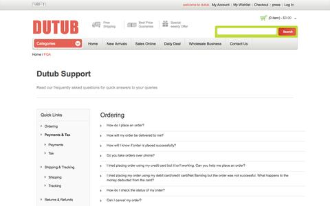 Screenshot of Support Page dutub.com - Online Shopping FQA  | Dutub.com - captured Nov. 5, 2014