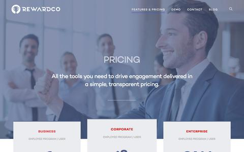 Screenshot of Pricing Page rewardco.com - Platform for People Engagement | REWARDCO - captured Sept. 20, 2018