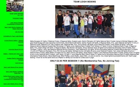 Screenshot of Home Page leighboxing.com - TEAM LEIGH BOXING - captured Oct. 9, 2015