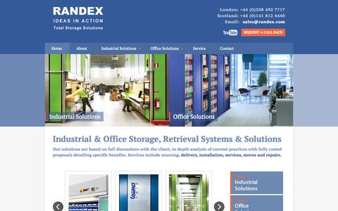Screenshot of Home Page randex.com - Randex | Industrial & Office Storage, Retrieval Systems & Solutions - captured Sept. 1, 2015