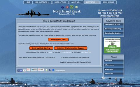 Screenshot of Contact Page kayakbc.ca - How to contact North Island KayakNorth Island Kayak - captured Oct. 26, 2014