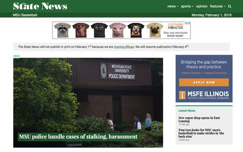Screenshot of Home Page statenews.com - The State News | Michigan State University's Independent Voice - captured Feb. 1, 2016