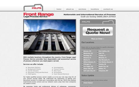Screenshot of Home Page frlps.com - Process Servers - Front Range Legal Process Service - captured Oct. 6, 2014